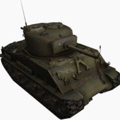 A front right view of a M4A3E8 Sherman