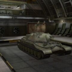 A front right view of a IS-7 in a garage]]
