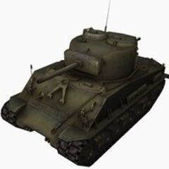 A front left view of a M4A3E8 Sherman