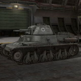 A side left view of a Pz.Kpfw. 38H 735 (f) in a garage