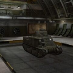 A front right view of a M3 Lee in a garage