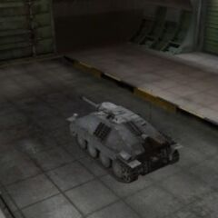 A rear left view of a Jagdpanzer 38(t) Hetzer in a garage