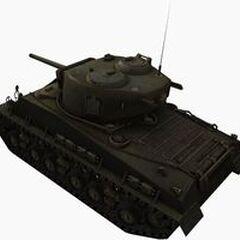 A rear left view of a M4A3E8 Sherman