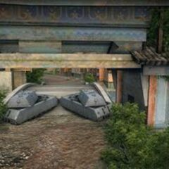 A rear view of 2 Maus tanks on the Pearl River map