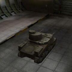 A rear right view of a M3 Lee in a garage