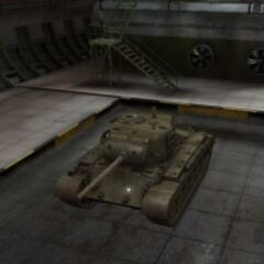 A front left view of a M26 Pershing in a garage