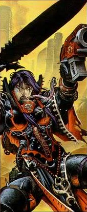 Miriael Sabathiel Corrupted Sister of Battle Slaanesh Caos Dark Millennium Wayne Reynolds illustration