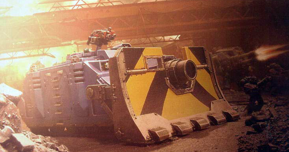 A Vindicator Is Protected From Attack By Its Large Siege Shield
