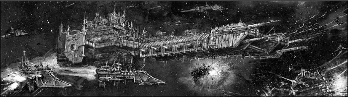 Space Marine Battle Barge and escorts