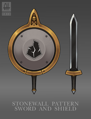 Stonewall pattern sword and board