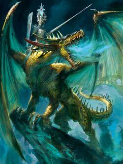 High Elf Lord on Dragon 8th Edition Colour Illustration