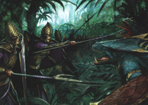 Dark Elf raiding Lizardmen