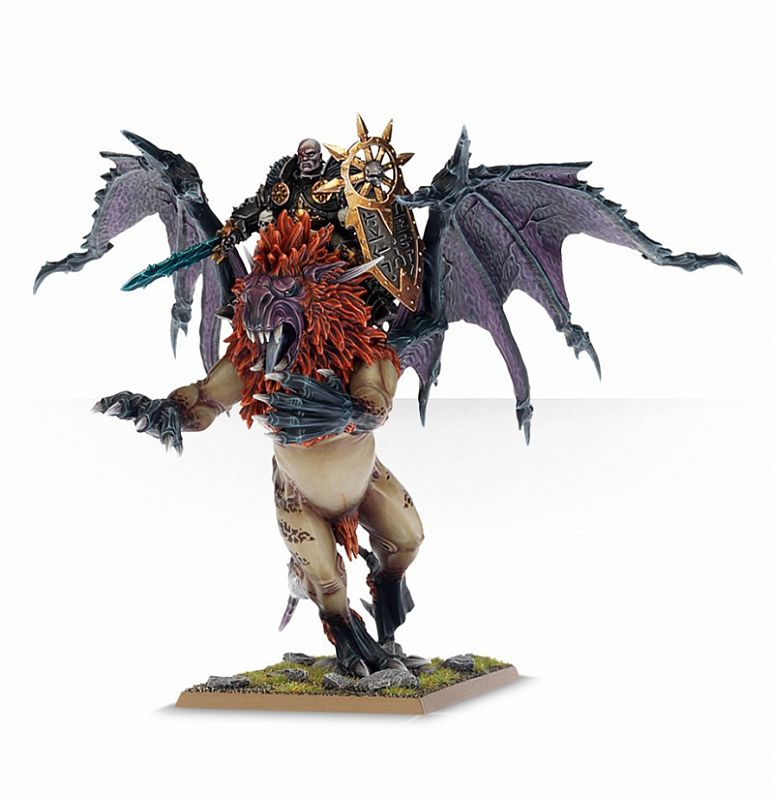 Warhammer Chaos Lord on manticore-tail 1