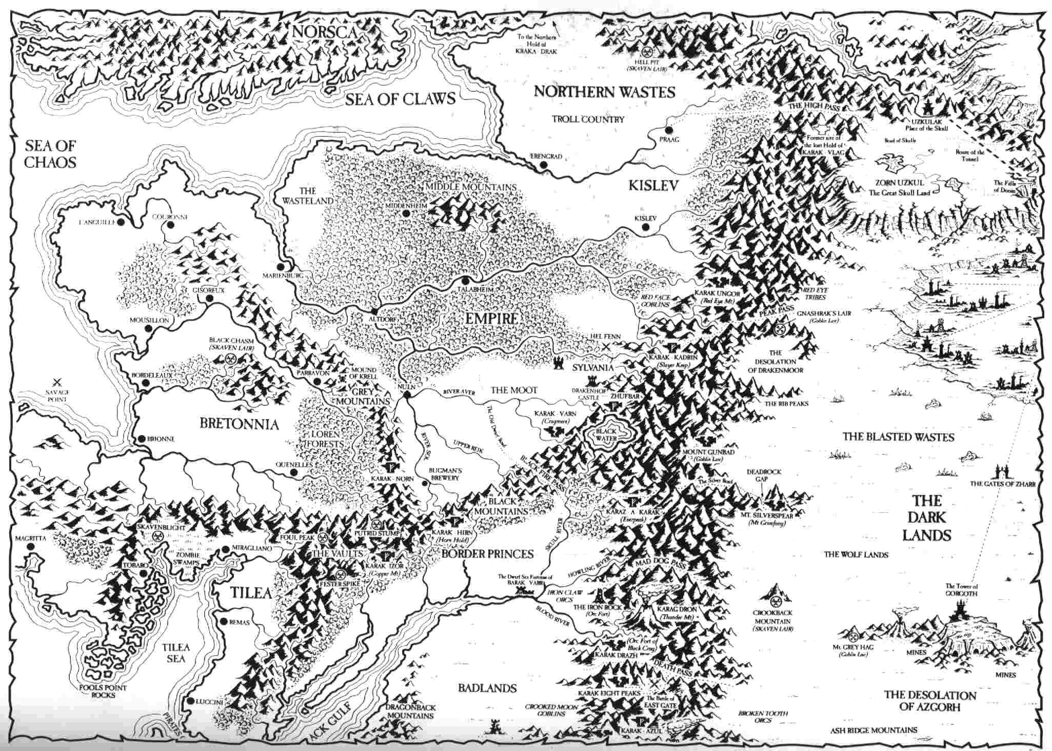 Old World Warhammer Wiki FANDOM Powered By Wikia - Old world map black and white