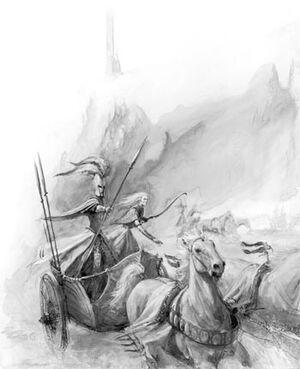Tiranoc Chariot High Elves 6th Edition Black&White Illustration
