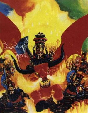 Chaos Dwarf Lord on Great Taurus Colour 4th Edition Illustration