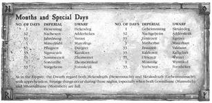 Dwarf Calendar