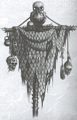 Dragonhide Banner Ogre Kingdoms 6th Edition B&W illustration