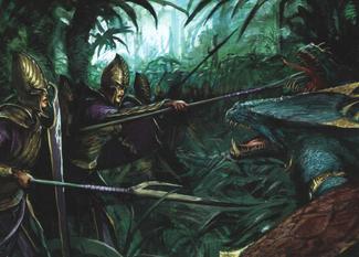 Warhammer Lizardmen Saurus Attack