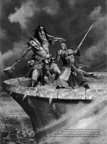 Marcus of Bordeleaux vs Svengar of the Skaelings 6th Edition black&white illustration