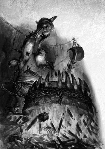 Skrag the Slaughterer Ogre Kingdoms 6th Edition black&white illustration