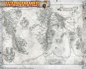 Warhammer World Map 6th Edition Black&White Illustration