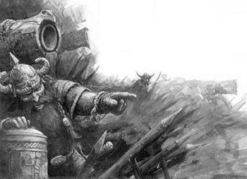 Dwarf Flame Cannon 6th Edition Black&White Illustration