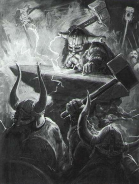 Runelord Anvil of Doom Dwarf B&W Illustration 6th Edition