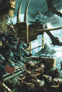 Lizardmen fighting Skaven