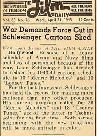 Film Daily Schlesinger article 4-1943