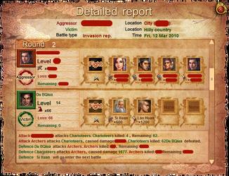 Battle detailed report