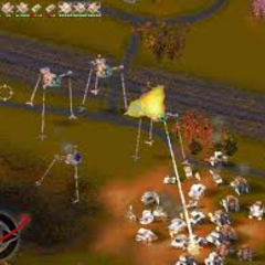 A Scout Machine and Fighting Machines attacking a swarm of human vehicles.