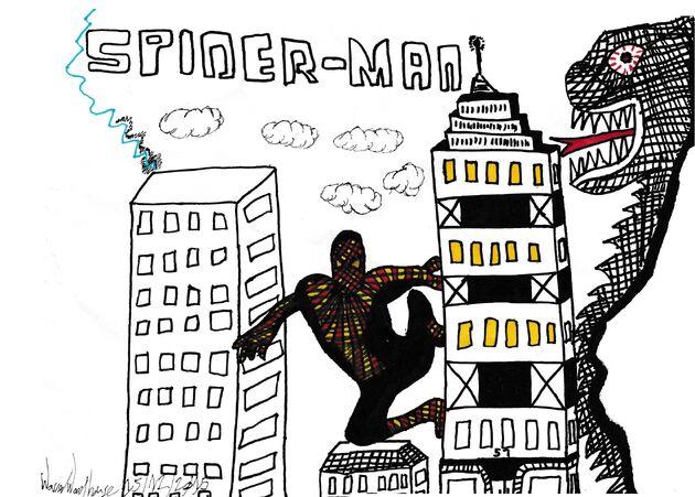 SpiderManFanart Spider-Man VS The Rift Monster ByWarrenWoodhouse 15thDecember2015
