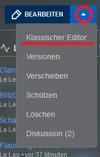 Klassischer Editor über VisualEditor