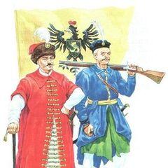 Поручик (слева) и рядовой выбранецкой пехоты Великого Княжества Литовского со знаменем князей Радзивиллов, XVII век.