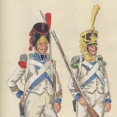 1-й линейный полк, 1806 г. Капрал гренадеров (слева) и сержант вольтижеров.