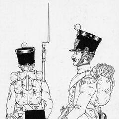 Сержант фузилеров (слева) и вольтижер неаполитанской линейной пехоты, 1812 г. В зависимости от цвета приборного сукна, изображенные солдаты могут принадлежать к разным полкам.