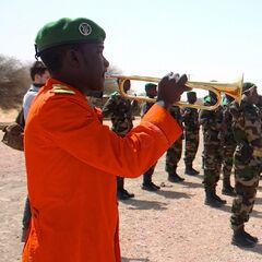 Трубач военного оркестра Нигера в парадной униформе в национальных цветах.