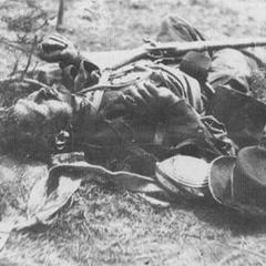 Пехотинец Конфедерации из корпуса Ивелла, убитый в бою под Спотсильвания Корт Хаус, 18 мая 1864 г. Люди Ивелла были атакованы союзным корпусами Хенкока и Райта на рассвете, но конфедераты, сражаясь в наскоро сооруженных земляных укреплениях, отбили атаку. Мид отменил дальнейшие атаки, а Грант приказал начать другой фланговый марш на следующий день.