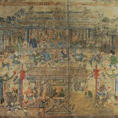 Фреска с изображением монастыря Шаолинь и его монахов.
