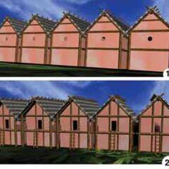 Реконструкция внешнего вида укреплений второго овала застройки поселения Майданецкое. Виды снаружи и с внутренней стороны поселения.