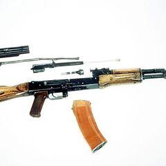 АК-74 в разобранном виде.
