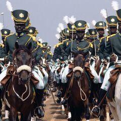Ученики-жокеи, изображающие кавалерию. Официально в состав императорской гвардии не входили и были привлечены только для большей масштабности церемонии, однако имеют очень похожую с гвардейцами униформу.