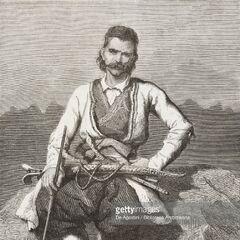 Портрет черногорского мужчины с оружием в горах, 1877 г. Автор гравюры — Теодор Валерио.