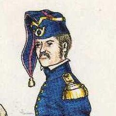 Офицер вольтижеров 8-го линейного полка в повседневной форме, 1815 г.