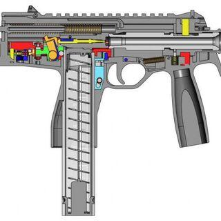 Схема устройства пистолета-пулемета Steyr TMP.