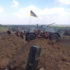 Бойцы батальона в зоне АТО, июль 2014 г.