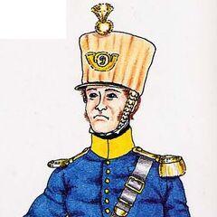 Офицер вольтижеров 9-го линейного полка в походной форме, 1815 г.