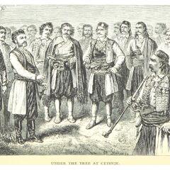 Князь Никола I с главами черногорских племен. Гравюра была опубликована во 2-м томе монографии Д. М. Маккензи
