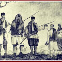 Одно из ранних изображений черногорцев, датируемое 1780-ми гг.